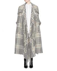 Chloé Chlo Check Plaid Fringe Blanket Cape Coat