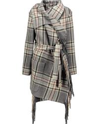 Chloé Fringed Plaid Wool Blend Coat