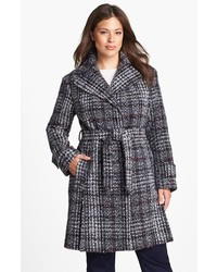 DKNY Belted Plaid Tweed Coat