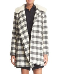 See by Chloe Faux Shearling Trim Buffalo Plaid Coat