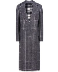 Calvin Klein Collection Janca Plaid Leather Trimmed Wool Coat