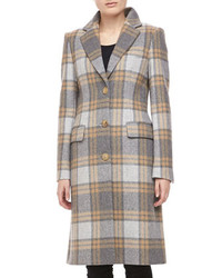 Michael Kors Belmont Plaid Wool Coat Banker Michl Kors