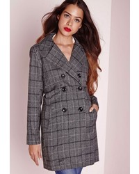 Missguided Checked Trench Jacket Grey