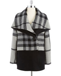 Badgley Mischka Molly Plaid Colorblock Coat