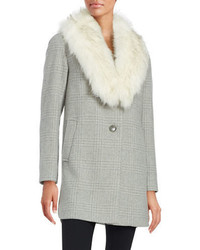 T Tahari Olivia Faux Fur Collar Wool Blend Plaid Coat