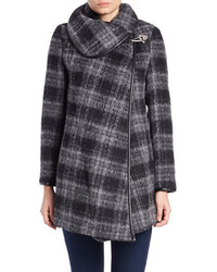 Betsey Johnson Plaid Asymmetrical Wrap Coat