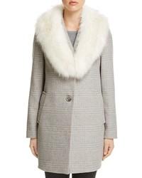 T Tahari Olivia Faux Fur Trim Coat