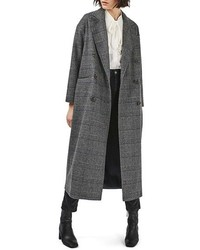 Topshop Glen Plaid Wool Blend Coat