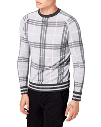 Grey Plaid Crew-neck Sweater