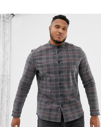 ASOS DESIGN Plus Skinny Fit Denim Check Shirt With Grandad Collar