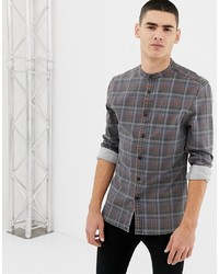 ASOS DESIGN Skinny Fit Denim Check Shirt