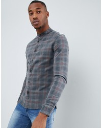 ASOS DESIGN Skinny Fit Denim Check Shirt With Grandad Collar