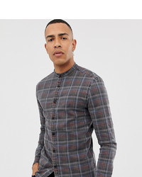 ASOS DESIGN Tall Skinny Fit Denim Check Shirt