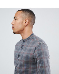ASOS DESIGN Tall Stretch Slim Fit Denim Check Shirt With Grandad Collar