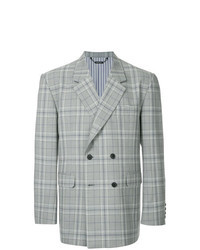 Grey Plaid Double Breasted Blazer