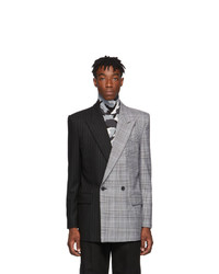 Juun.J Black And Grey Double Breasted Blazer