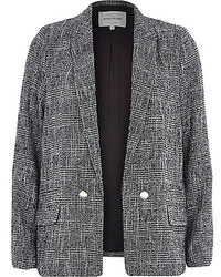 River Island Black Check Blazer