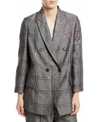 Brunello Cucinelli Cottonlinen Check Paillette Blazer Jacket