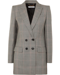 Givenchy Double Breasted Houndstooth Wool Blend Blazer