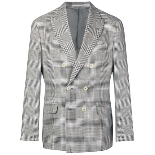 Brunello Cucinelli Double Breasted Plaid Jacket