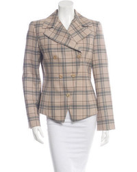 Carolina Herrera Double Breasted Wool Plaid Blazer