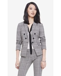 Express Glen Plaid Faux Double Breasted Blazer