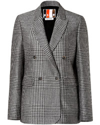 MSGM Fleece Wool Silk Glen Plaid Blazer