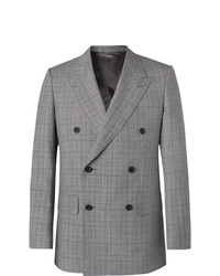 Kingsman Grey Slim Fit Unstructured Double Breasted Houndstooth Summer Weight Wool Suit Jacket