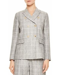 Sandro Iveline Double Breasted Plaid Blazer