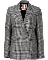MSGM Fleece Wool Silk Glen Plaid Blazer