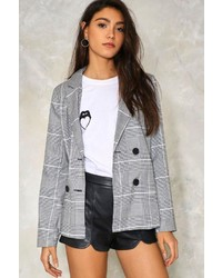 Nasty Gal Nastygal Checking In Plaid Blazer