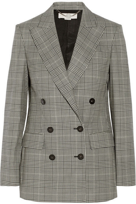 Stella McCartney Prince Of Wales Check Stretch Wool Double Breasted Blazer