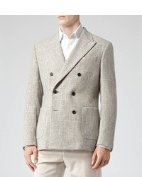 Reiss Puglia Double Breasted Check Blazer