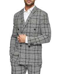 Topman Skinny Fit Double Breasted Check Suit Jacket