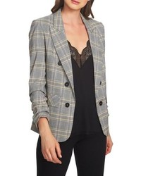 1 STATE Wear Plaid Ruched Sleeve Blazer