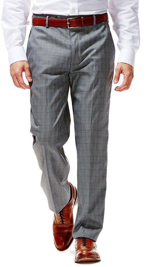 94dbd4299f3 ... Haggar 1926 Originals Straight Fit Flat Front Grey Plaid Dress Pants ...