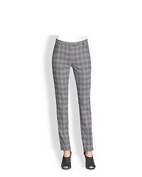 Armani Collezioni Shadow Plaid Slim Wool Pants Grey Shadow