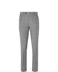 Brunello Cucinelli Grey Slim Fit Prince Of Wales Checked Wool Linen And Silk Blend Trousers