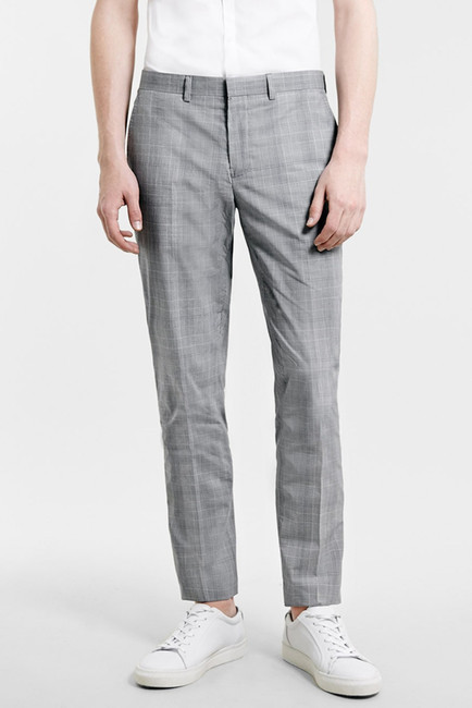 Topman Skinny Fit Plaid Suit Trousers