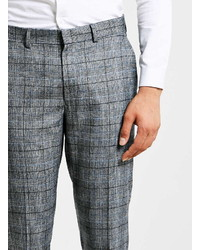 Topman Blue And Gray Wool Blend Check Skinny Fit Dress Pants