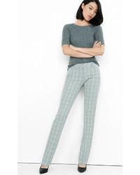 Windowpane Plaid Low Rise Slim Leg Columnist Pant