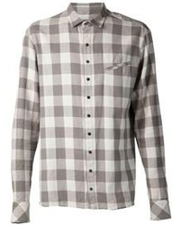Grey Plaid Dress Shirt
