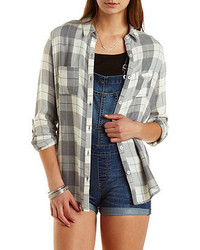 Charlotte Russe Flyaway Plaid Button Up Tunic Top