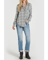 Grey plaid shirt medium 6870233