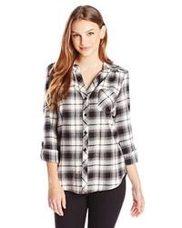 Juniors plaid button down shirt medium 159535