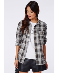 Missguided Mandara Boyfriend Plaid Shirt Grey