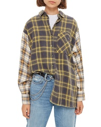 Topshop Mixed Plaid Oversized Shirt