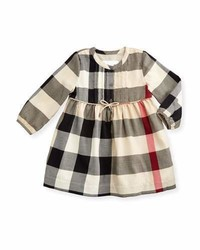 Burberry Emalie Long Sleeve Pintucked Check Dress New Classic Size 6m 3y