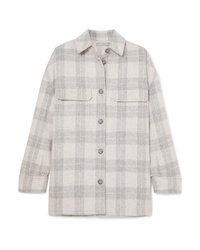 Vince Checked Wool Blend Flannel Jacket
