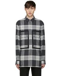 Grey Plaid Flannel Long Sleeve Shirt
